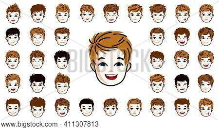 Pretty Child Boy Faces And Hairstyles Heads Vector Illustrations Set Isolated On White Background, E