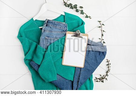 Second Hand Wardrobe Idea. Circular Fshion, Eco Friendly Sustainable Shopping, Thrifting Shop Concep