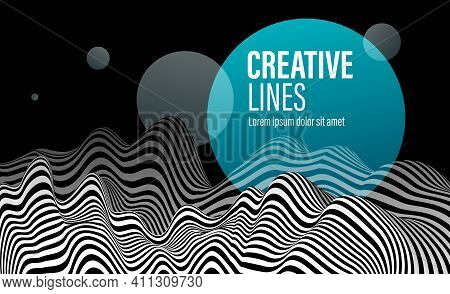 Abstract Vector 3d Lines With Blue Circle Background, Black And White Curves Linear Perspective Dime