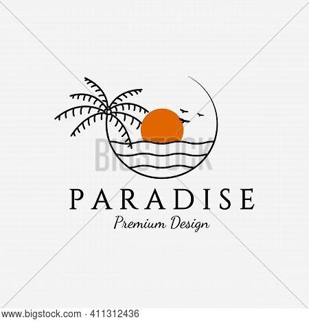 Minimalist Paradise Island, Palm Tree Logo Illustration, Vector Of Coconut Tree Line Art Concept, Ci