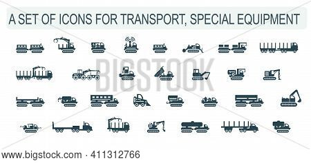 A Set Of Vector Illustrations, Icons Of Transport, Special Equipment.