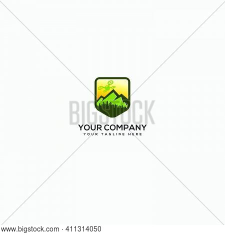 Drone Mountain And Camera View Logo, Safety Drone Outdoors Logo, Shield Drone