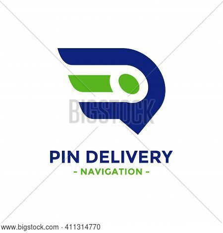 Pin Delivery Logo Design Template. Speed Symbol With Gps Map Point Icon Combination. Concept Of Logi