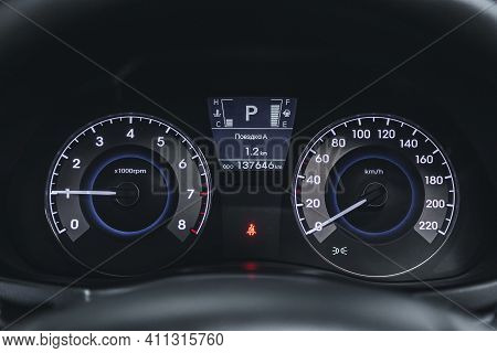 Novosibirsk, Russia - March 03 2021: Hyundai Solaris, Speedometer Of A Modern Car With An Integrated