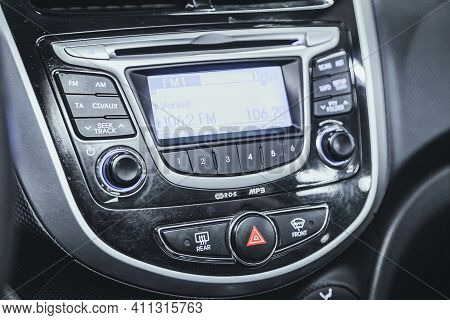 Novosibirsk, Russia - March 03 2021: Hyundai Solaris, Auto Interior, Car Stereo Audio System Front P