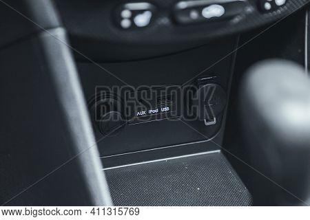 Novosibirsk, Russia - March 03 2021: Hyundai Solaris, Close Up Of A Charging In The Car, Cigarette L