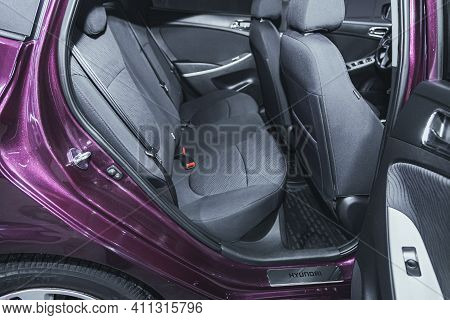 Novosibirsk, Russia - March 03 2021: Hyundai Solaris, Comfort Car Inside. Clean Car Interior: Black