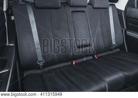 Novosibirsk, Russia - March 03 2021: Mazda Cx-7, Comfort Car Inside. Clean Car Interior: Black Back