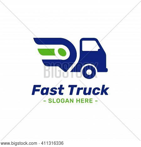Fast Truck Location Logo Design Template. Combined With Speed Symbol And Gps Map Point Icon. Concept