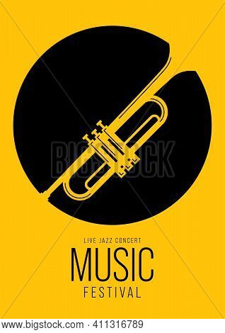 Music Poster Design Template Background Decorative With Trumpet. Design Element Template Can Be Used