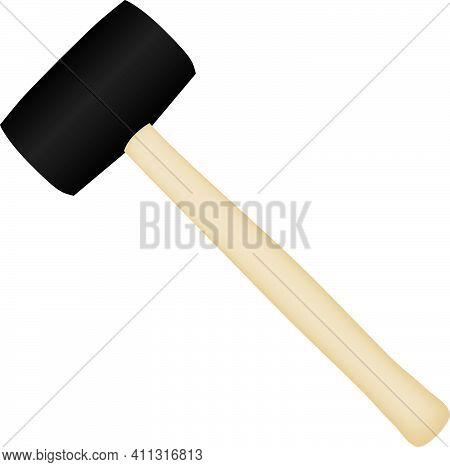 Tool For Special Work - Mallet Hammer. Vector Illustration.