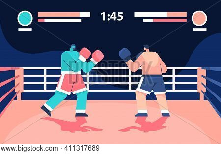 Two Professional Boxers Fighting On Arena Boxing Online Platform Video Game Level E-sport Concept Co