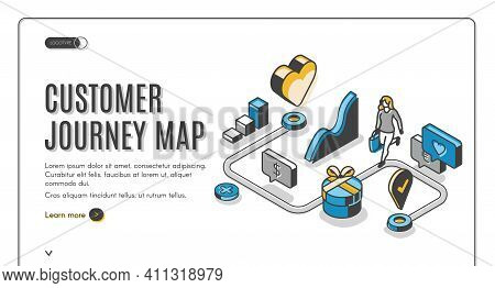 Customer Journey Map Isometric Web Banner. Process Of Purchasing Decision, Buyer Make Purchase Movin