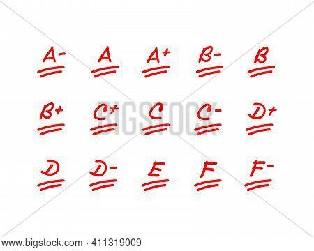 Exam Score Illustration Set, Red Letter Grade Mark, School Est Result Collection - Vector