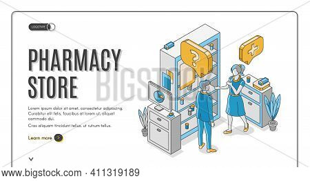 Pharmacy Store Isometric Web Banner. Customer Communicate With Pharmacist At Medical Drugstore Inter