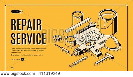 Repair Service Isometric Landing Page, Engineering Construction Plan With Tools For House Renovation