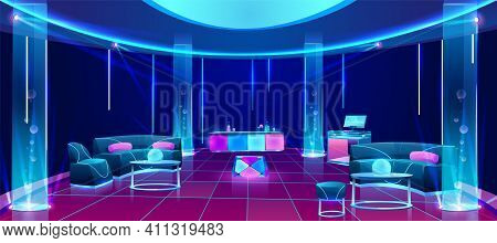 Night Club Or Bar Interior, Empty Dark Lounging Room With Neon Illumination, Counter Desk With Drink