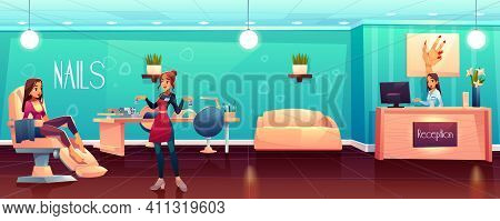 Woman Visiting Beauty Salon, Female Client Siting In Comfortable Chair, Waiting For Pedicure, Manicu