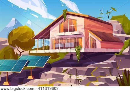 Ecological Lifestyle, Sustainable And Autonomous Living, Clean Environment Cartoon Vector Concept. T