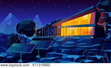 Organic Architecture House With Solar Panels At Night Time. Eco Friendly Wooden Dwelling Building Wi