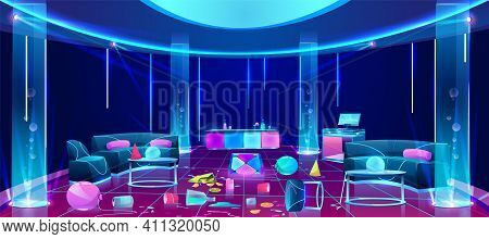Mess And Chaos In Empty Nightclub After Weekend Party Cartoon Vector Concept With Balloons, Paper Cu