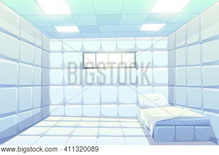 Asylum, Madhouse Empty Interior With Bed, White Padded Soft Floor And Walls, Glowing Lamps And Small