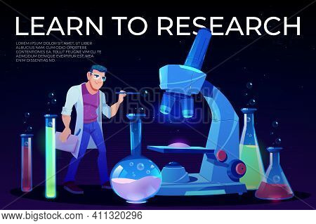 Science, Learn To Research Landing Page, Man Scientist In White Robe Stand At Huge Microscope With F