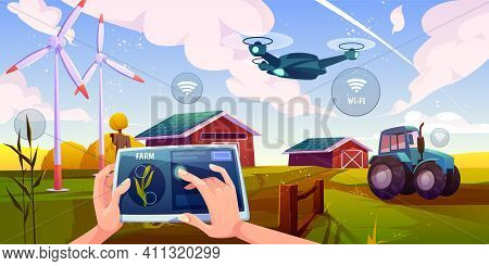 Smart Farming, Futuristic Technologies In Farm Industry. Tablet With App For Control Plants Growing,