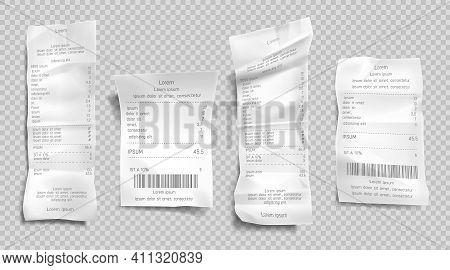 Receipt Invoice, Paper Bill, Cash Purchase Set Isolated On Transparent Background. Supermarket Shopp