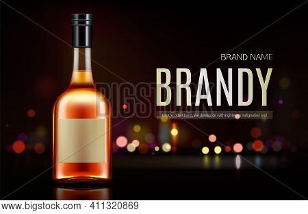 Brandy Bottle Mockup Banner. Closed Blank Flask With Strong Alcohol Drink Mock Up On Dark Background