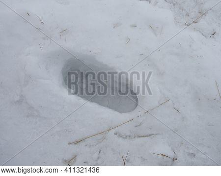 Deep Human Footprint In The Snow In Winter.