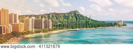 Hawaii waikiki beach in Honolulu city, aerial view of Diamond Head famous landmark travel landscape destination in Oahu island, USA. Banner panorama.
