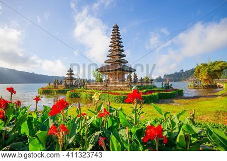 Pura Ulun Danu Bratan Temple In Bali Island. Beautiful Balinese Temple. Balinese Landmark. Blue Sky