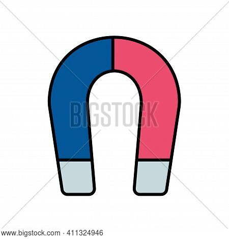 Line Color Physics, Science Icon Magnet. Classroom School Equipment Symbol. Science, Research, Educa
