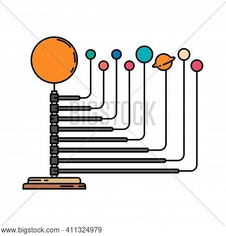 Color Space Science Icon Planets Orbit Layout. Classroom School Equipment Symbol. Science Research E