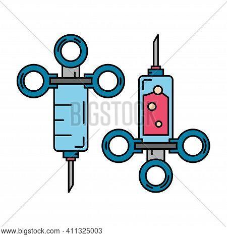Line Color Medical Healthcare Icon Set - Syringe. Professional Equipment Symbol. Science, Pharmacy,