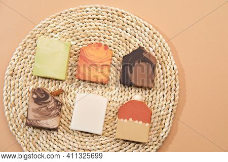 Collection Of Handmade Homemade Soaps In Different Colors With The Addition Of Natural Ingredients O