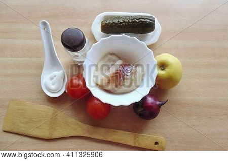 Prepare All The Ingredients Ground Black Pepper Salt Apple Tomato Mayonnaise Salted Cucumber Onion C