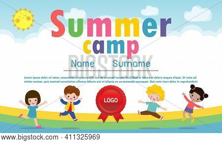 Kids Summer Camp Diploma Or Certificate With Cute Happy Children Jumping Together On A Rainbow, Cart