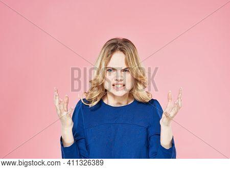 Cute Blonde Blue Dress Lifestyle Emotions Displeasure Pink Background