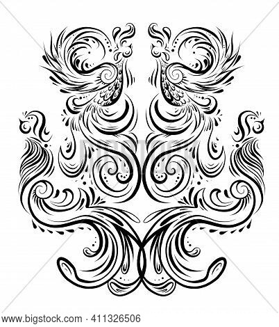 Outline Bird Pattern With Curled Tails And Wings. Symmetrical Decoration In Shades Of Gray. Vintage