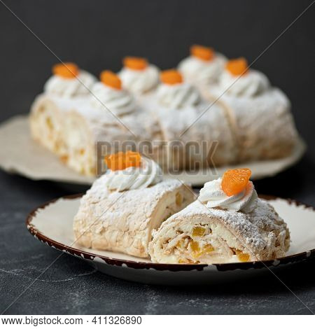 Meringue With Airy Cream. Close Up Of Confection On Saucer. Romantic Sweet Gift Or Present For Belov