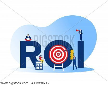 Return On Investment, Roi, Market And Finance Growth Marketing Profit Profit Income Of Investments I