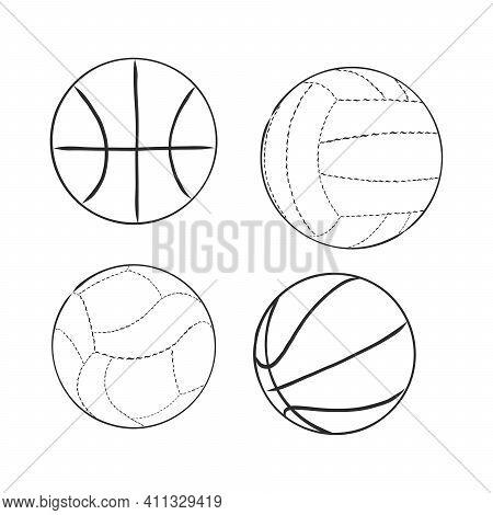 Vector Sketch Illustration - Sport Balls:, Volleyball, Basketball,