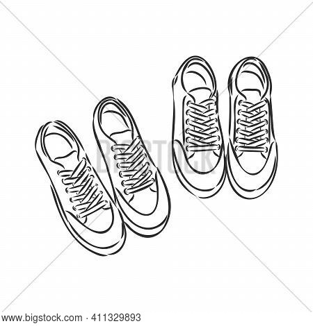 Pair Of Sneakers On White Background Drawn In A Sketch Style. Sneakers Hanging On A Peg. Vector Illu