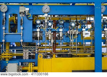 Control And Monitoring Section Of The Gas Metering Station. Pressure Gauges And Tubes