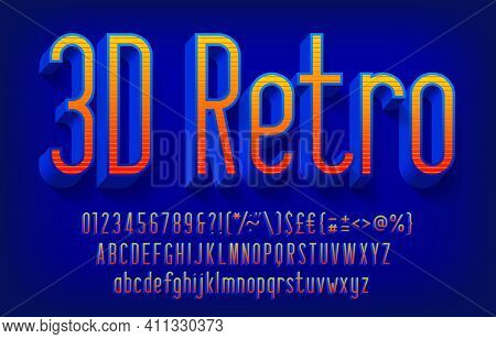 3d Retro Alphabet Font. Narrow Letters, Numbers And Punctuations With Shadow. Uppercase And Lowercas