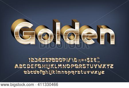 Golden Alphabet Font. 3d Gold Letters, Numbers And Punctuations With Shadow. Uppercase And Lowercase