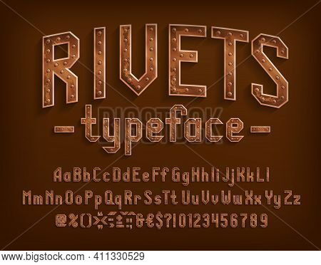 Rivets Alphabet Font. Steampunk Letters, Numbers And Punctuation. Uppercase And Lowercase. Stock Vec