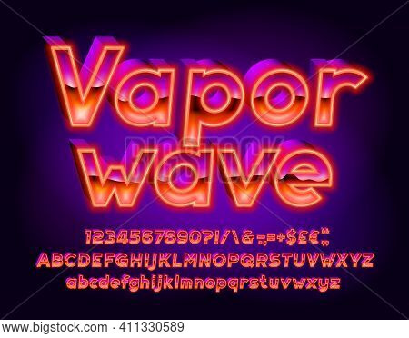 Vaporwave Alphabet Font. 3d Effect Letters, Numbers And Punctuations. Uppercase And Lowercase. Retro
